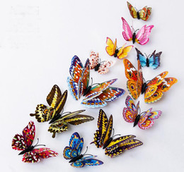 Wholesale Butterfly Refrigerator - Luminous double sets of magnetic butterfly 3D stereo butterfly wall stickers refrigerator stickers new design high simulation butterfly GA73