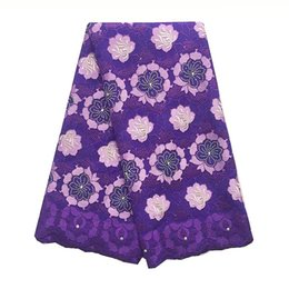 Wholesale purple voile african lace - Voile African Lace Fabric 2017 High Quality Swiss Lace Materials African Materials Purple Cotton Nigeria Lace Fabric 2018
