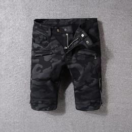 Wholesale jeans style for short men - New Luxury Brand Bal Mens Jean Shorts Designer Jeans for Men Famous Brand Men Denim Biker Jeans 4 Styles Pants