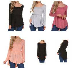 Wholesale office wear blouses - women long sleeve T Shirt High Waist Casual T-shirt Elegant Office Wear Casual Solid Long Sleeve Shirt LJJK913