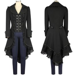 Wholesale Red Trench Jacket - women's Steam punk Tailcoat Jacket Gothic Victorian Coat Single Breasted Trench coat