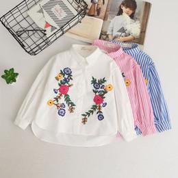 Wholesale Preppy Blouse - Girls flowers embroidery shirt 2018 spring new kids stripe long sleeve tops preppy style children lapel long sleeve cotton blouses R2107