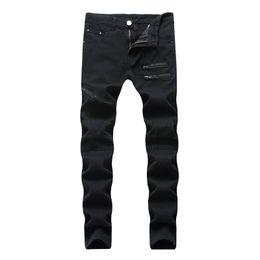 Wholesale Black Hole Design - Men Zipper Design Jeans Broken Hole Black White Black Slim Casual Pants High Streetwear Hip Hop Demin Pants