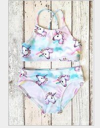 Wholesale Girls Cartoon Swimsuit - INS Baby Girls Unicorn Swimwear Top Briefs Kids Summer Cartoon Bikini 2pcs Sets Clothing Suits Swimsuit Bikini Bathing Beachwear KKA4189