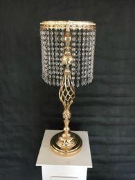 Wholesale Table Candelabra Crystal Wholesale - Rhinestone Candelabra Wedding Party Elegant Candle Holder Pretty Table Centerpiece Vase Stand Crystal Candlestick Wedding Decoration