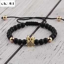 Micro perles de 6 mm en Ligne-2018 Mode 6mm Noir Perles Rondes Bracelet Hommes Micro Pave Couronne Alliage Charmes Bracelets Bracelet Réglable Mâle Bijoux Pulseira