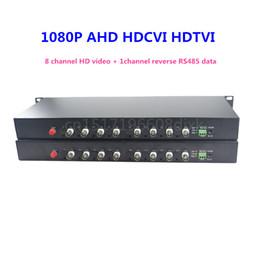 Vídeo de fibra óptica on-line-Vídeo 1080p HD AHD CVI TVI conversor óptico de fibra, 8-CH Vídeo Óptico com dados reversos RS485
