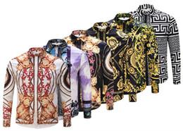Großhandel - Neue Herbstmode-Marken-Männer schlank schlanke Männer Langarm-Shirt Medusa Goldkette Druckhemd Polo Männer Casual Business Shirt 2xl von Fabrikanten