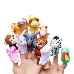 Wholesale chinese animal zodiac - Chinese Zodiac 12pcs lot Animals Cartoon Biological Finger Puppet Plush Toys Baby Favor Finger Dolls C4081