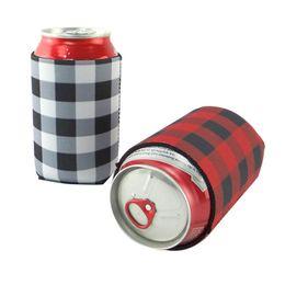 Buffalo Buffalo Check Cooler Bag Comercio al por mayor espacios en blanco neopreno negro a cuadros rojo puede cubre regalo de boda lata envuelve LZ1955 desde fabricantes