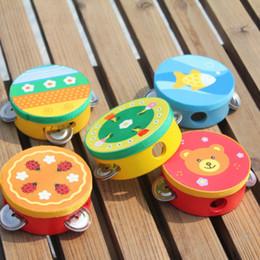 Wholesale baby drums - New Fashion Children's Musical Instrument Drum Children Hand Bells Musical Instrument Handbells Educational Cartoon Baby Drum Wooden