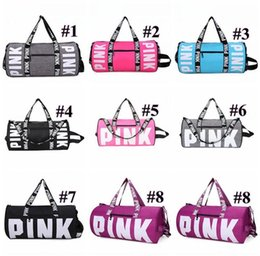 Wholesale Wholesale Factory Price Clothes - Factory Price!! 8 colors Pink Letter Duffel Bags Women Handbags Large Capacity Travel Duffle Striped Waterproof Beach Bag Shoulder Bags