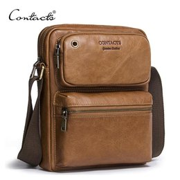 Wholesale Zipper Portfolio - CONTACT'S 2017 New Arrival Genuine Cowhide Leather Men's Cross Body Bag Shoulder Bags For Men Messenger Bag Portfolio