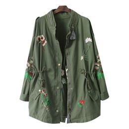 Al por mayor-2017 Otoño bordado de las mujeres rompevientos con cordón Ejército verde informal chaqueta suelta abrigo de moda cazadoras casaca mujer desde fabricantes
