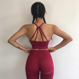 Almohadilla con cable online-Secado rápido Mujeres Deportes Sujetador de alambre Libre de tiras sin costuras Gimnasio Tops de cultivo Sujetador de yoga Sin respaldo Sin relleno Acolchado Shakeproof Fitness Ropa interior