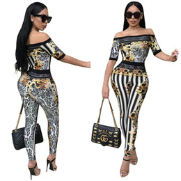 Wholesale Leopard Print Bodysuit - 2018 New Women Jumpsuits Word Shoulder Short Sleeve Leopard Striped Printing Bodysuit Clubwear Sexy Bodysuit + Pants Two-piece Set
