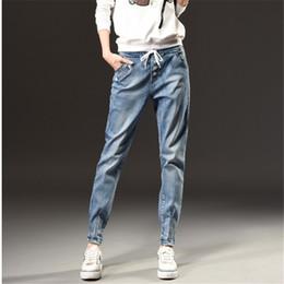 Wholesale Winter Jeans Woman - Autumn Winter Fashion Mid Waist Jeans Woman Large Size S-5XL Leisure Slim Elastic Waist Ladies Vintage Harlan Pants Women Jeans