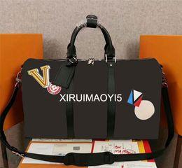 Wholesale Top Leather Bags For Men - Top Quality Keepall Duffel Bags Brand Designer Travel Handbag for Men Women Genuine Leather Black Luggage Bag 45CM
