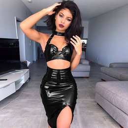 Wholesale sexy faux leather black dresses - NEW 2 Pcs Dresses Set Halter Bra Women Faux Leather Suits Side Split Two Pieces Set Sexy Elegant Ladies Solid Night Club Outfits