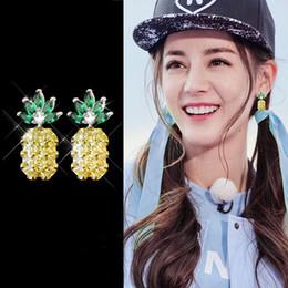 Wholesale Imitation Fruit - 925 silver needle crystal pineapple earrings pink yellow female European and American temperament cute fruit earrings wild earrings