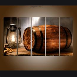Pintura abstrata do vinho on-line-Grande Moderna Contemporânea Abstrata Barril de Vinho de Arte Ocidental Pintura Impressão Da Parede Da Arte Da Lona Decoração de Casa 5 Peça imagem para Sala de estar Decoração