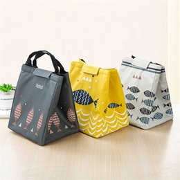 Wholesale Chopsticks Portable - Heat Preservation Handbags Fish Outdoors Picnic Portable Lunch Boxes Oxford Cloth Pearl Cotton Waterproof Bento Bag Thick 5 2bx V