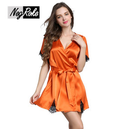 Wholesale Quality Lounge - New Summer sexy 100% silk women robes quality silk short-sleeved golden soft ladies bathrobes sleep lounge women robes