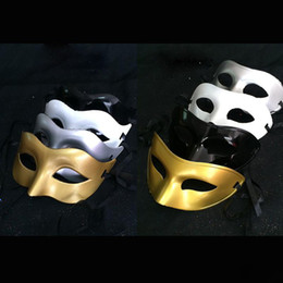 Wholesale White Wedding Masquerade Masks - Men's lady Masquerade Mask Fancy Dress Venetian Masks Masquerade Masks Plastic Half Face Mask Optional Multi-color (Black, White, Gold,