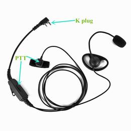 Wholesale headset talkie pin - 2 Pin K-Plug Headset Headphone with Double PButton for BAOFENG Two Way Radio UV-5R UV-B5 UV-B6 PUXING WOUXUN Walkie Talkie