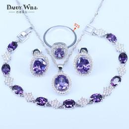 2019 collar de circón morado Románticas nupcial púrpura circón color Plata 925 Logo traje fija joyería para las mujeres de los pendientes pendientes collar anillo pulseras Set rebajas collar de circón morado