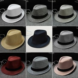 Wholesale Universal Linens - Universal Stingy Brim Hats Comfortable Cotton Linen Straw Hat For Men And Women Fedora Panama Jazz Cap Creative 5 5kp B