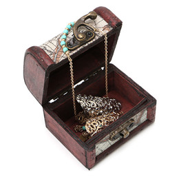 Wholesale cufflink boxes wholesale - 1Pcs Vintage Wooden Map Storage Box Metal Locking Jewelry Cufflinks Chest Case