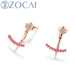 orecchini di diamanti rubino Sconti Orecchini ZOCAI 0.13 CT Red Ruby certificato con 0,02 CT con diamanti Orecchini a bottone in oro rosa 18 carati (Au750) E00959_1 S923