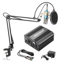 Suporte de braço on-line-Neewer NW-800 Microfone Condensador Kit Preto 48 V Phantom Power Supply XLR Cabo para Casa Estúdio Gravação Boom Scissor Arm Stand