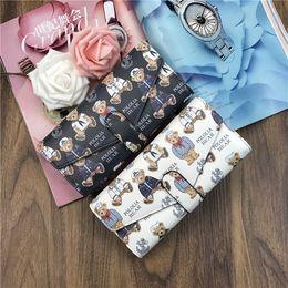 Wholesale Bear Christmas Cards - 30PCS Women Wallet 2017 Zipper Leather Bag Bear Character Printed Wallets Long Clutch Card Holder Purse