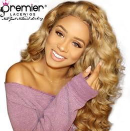 Peruca de 27 cores on-line-As perucas completas do cabelo humano do laço das perucas da premier # 27 colorem as perucas brasileiras do laço do cabelo do Virgin da onda 100% natural com linha fina natural