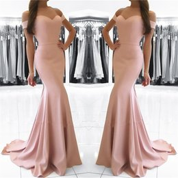 Wholesale Dusty Pink Ivory Dresses - 2018 Dusty Pink Mermaid Prom Party Dresses Sexy Off the Shoulder Backless Long Formal Evening Dress
