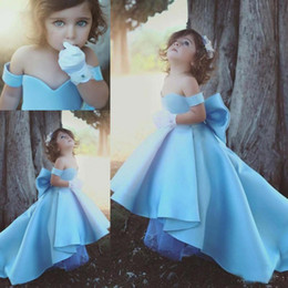 Wholesale Toddler High Low Dresses - 2018 Cute Off Shoulder Blue Girls Pageant Dresses Children Big Bow Satin High Low Flower Girl Dresses Kids Birthday Party Wear