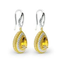 Gotas de oreja de diamante online-Pendientes de orejas con incrustaciones Pendientes de circonitas en forma de gota Pave Diamantes Joyas de plata