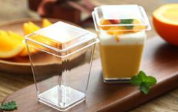 Canada 50Set Carré Tansparent En Plastique GâteauCup pour Mousse Crème Glacée Tasse Jelly Tasse Avec Couverture et Cuillère Pudding Dessert Ensembles Offre