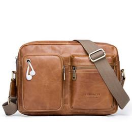 2018 new Genuine Leather Men Bags Business Vintage Bag Shoulder Bag engrave name  Messenger Handbags Male zipper travel sac 3ac0957b2ede3