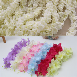 Wholesale Wisteria Home Decor - 2018 NEW 2M Wedding Party flower Long Wisteria flower Shop Store Decoration Wisteria flower Vine Rattan Garland wreath For Garden Home decor