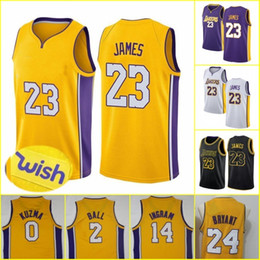 Wholesale los angeles jerseys - 2018 MEN Los Angeles 23 LeBron James Jersey Basketball The City Embroidery Logos 100% Stitched Gold Yellow White Purple Black Blue Youth Kid