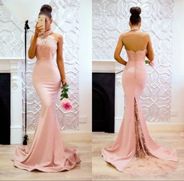 Wholesale Modest Yellow Lace Bridesmaid Dresses - Vestidos Cortos de Modest Long Lace Prom Party Dresses 2018 Mermaid Halter Backless Bridesmaid Dress Women Gowns