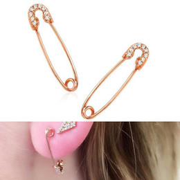 copper pin earrings Coupons - fashion cheap wholesale jewelry simple safety pin ear wire pave cz safety pin design elegance lovely girl gift fashion earring