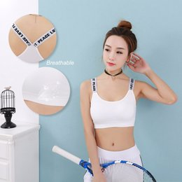 Wholesale Seamless Bra Wrap - Women Sports Gym Bra Tight Elastic Backing Tape English Letter Push Up Top Wrapped Chest Seamless Steel Ring Free A Female Bras