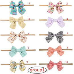 Wholesale Flower Heads For Hair Bows - Handmade infant Boutique Nylon Headband with Fabric Bow for Baby Girls Hair Accessories Hair Flowers Head Band 10groups choose free ship