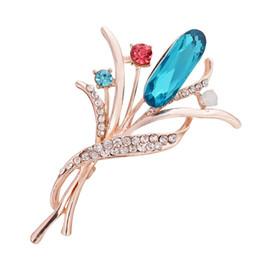 Broches de corea online-Cristal de circón Flores Broche Corea Boda Ramo Boda Bufandas Broches Accesorios