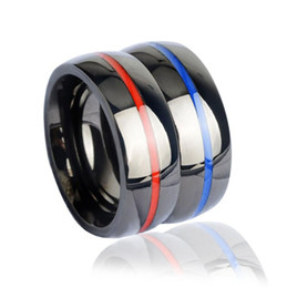 Wholesale Wholesale Firefighter - Fashion Women Men's Firefighter Ring 316 Stainless Steel Electroplate Thin Blue Line Ring Top Quality Red Line Rings