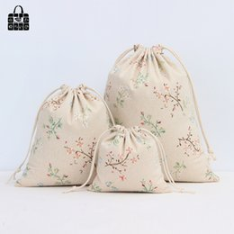 Wholesale wholesale linen rolls - Flower branches coon linen fabric dust cloth bag Clothes socks underwear shoes receive bag home Sundry kids toy storage bags